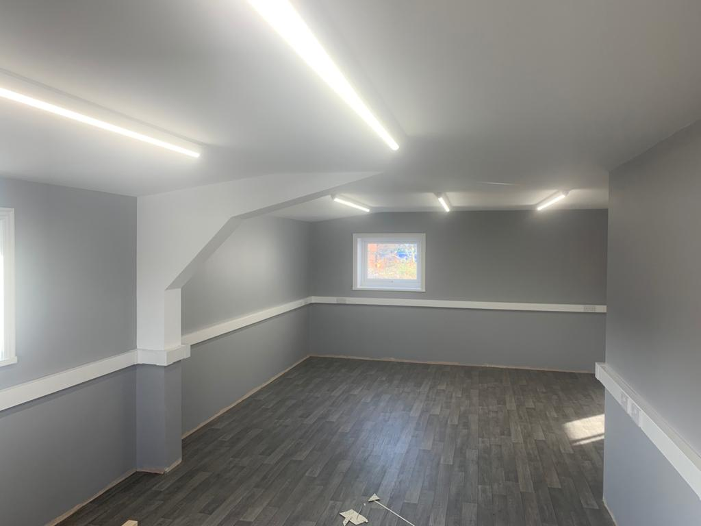 well lit basement